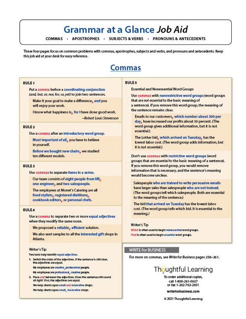 Grammar at a Glance Job Aid
